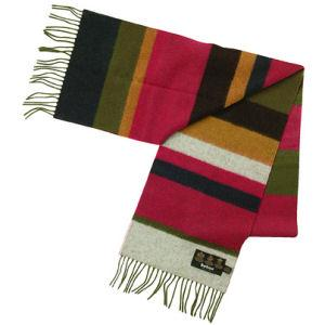 Barbour Horizontal Stripe Lambswool Scarf olive