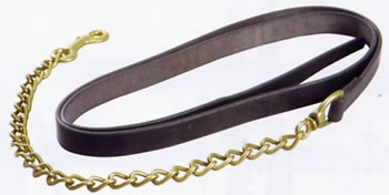 heavyweight leather lead rein with brass chain end