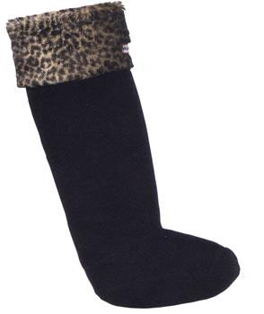 Hunter Fleece Welly Sock in Leopard skin and black for Adults S23660