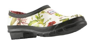Hunter RHS Gardening Clog White Floral Mix design