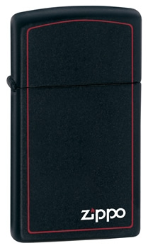 Zippo Ladies Slim Matt Black Cigarette Lighter with border