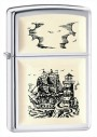 zippo ship emblem scrimshaw cigarette lighter