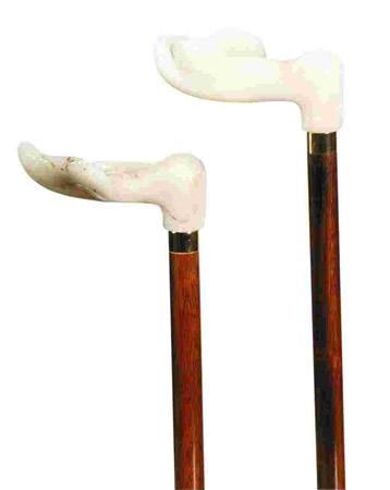 Acrylic Fischer Handle Orthopaedic Walking Stick left on left and right on right