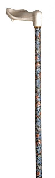 Adjustable Floral Walking Stick with Moulded Orthopaedic Handle