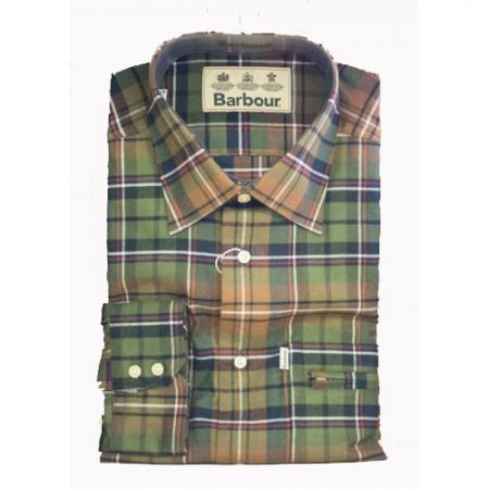 Barbour Bank Checked Shirt in Orange and Green