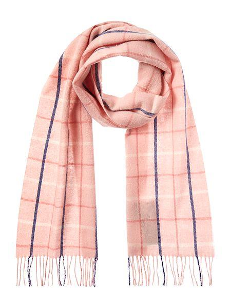 Barbour Bay Tattershall Lambswool Scarf in pink plaid LSC0134PI19
