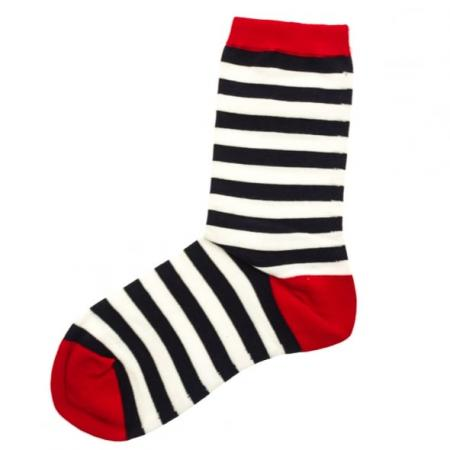 Barbour Beach Stripe Sock for Ladies in red white and blue