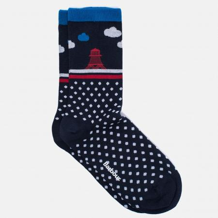 Barbour Beacon and Spot Sock for ladies in navy