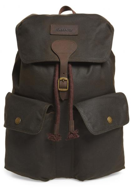 Barbour Beaufort Waxed Cotton Backpack in Olive UBA0425OL71