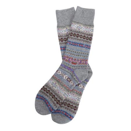 Barbour Boyd Fairisle Sock in Grey mix