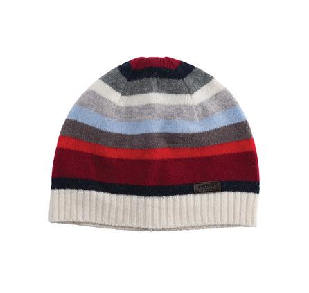 Barbour Briggs Stripe Beanie Hat for ladies in vanilla