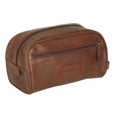 Barbour Brown Leather Washbag