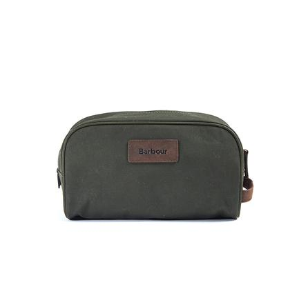 Barbour Drywax Washbag in olive
