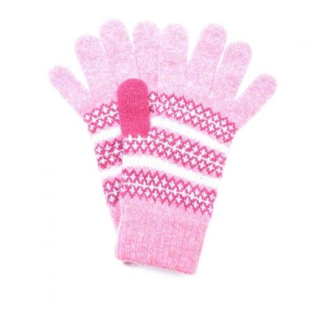 Barbour Country Knitted Fairisle Gloves For Women in pink