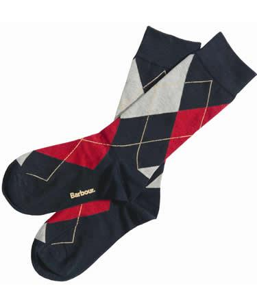 Barbour Durham Argyle Sock navy mix