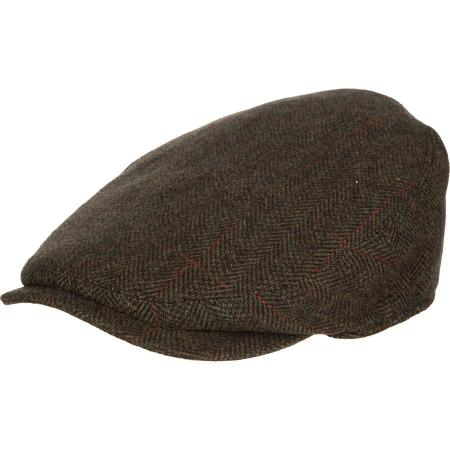 Barbour Gamefair Waterproof Flat Cap in olive check