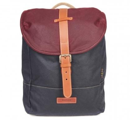 Barbour Hartwell Backpack in navy and red