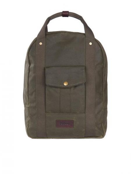 Barbour Houghton Wax Cotton Backpack in Olive UBA0449OL511