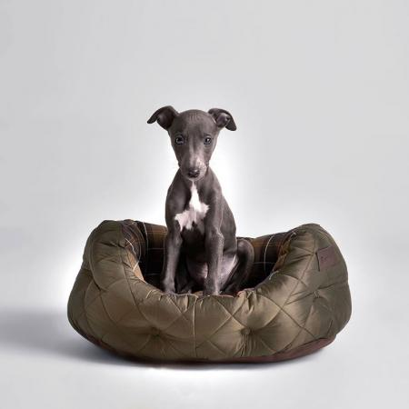 Barbour 18 inch Quilted Dog Bed in olive green