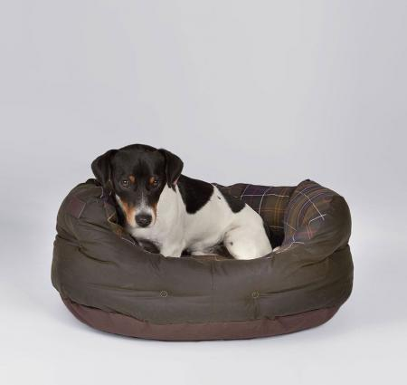 Barbour 24 inch Waxed Cotton Dog Bed in olive green UAC0116TN11