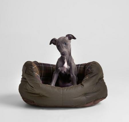 Barbour 18 inch Waxed Cotton Dog Bed in olive green UAC0115TN11