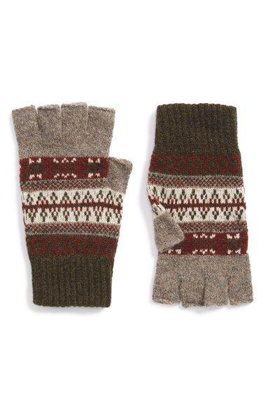 Barbour Knitted Fairisle Fingerless Gloves for Men at Cox the Saddler