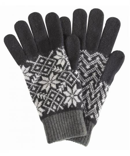 Barbour Knitted Fairisle Gloves for Men in Black and Grey MGL0028BK11