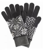 Barbour Knitted Fairisle Gloves for Men in Black and Grey