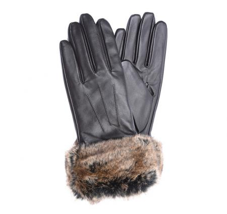 Barbour Ladies fur trimmed glove in leather LGL0043