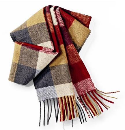 Barbour Large Tattershall Lambswool Scarf navy camel outside, camel red inside