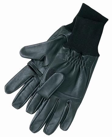 Barbour Leather Shooting Gloves in dark olive green