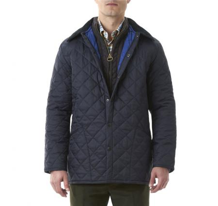 Barbour Liddesdale Jacket in Navy with Atlantic Blue Lining
