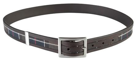 Barbour Stitched Leather and Tartan Belt classic tartan shown