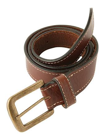 Barbour Stitched Leather Belt in brown