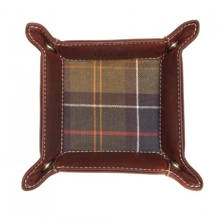 Barbour Tartan and Leather Valet Tray MAC0164