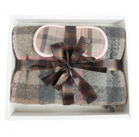 Barbour Tartan Boucle Blanket & Eye Mask LAC0207