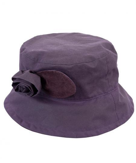 Barbour Valerie Ladies Waxed Cotton Hat with Rose Trim in Grape
