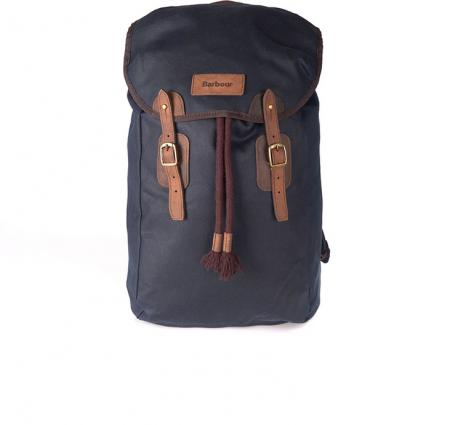 Barbour Wax Leather Backpack in Navy blue