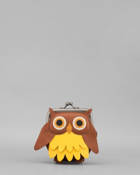 Barny The Owl Applique Brown Leather Clip Top Coin Purse