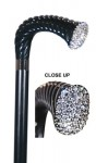 black contemporary crutch cane with crystals