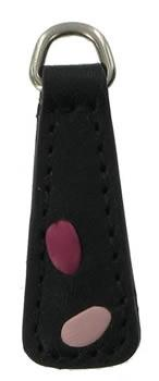 Black and Pink replacement zip tag for Radley handbags Z11A black with pale pink and shocking pink stitches