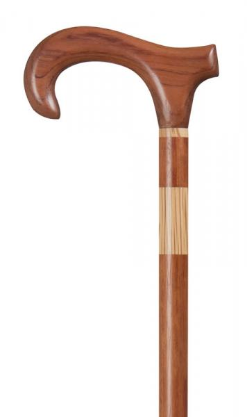 Bubinga Wood Derby Walking Stick with oak collar and insert