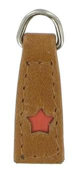3cm replacement zip tag for Radley handbags Z18/ E mid-tan with coral applique star
