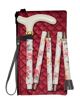 Cream Floral Folding Walking Stick - Quilted Bag & Wrist Loop