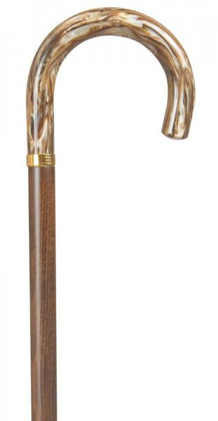 Crook Walking Stick with wooden shaft and golden beige handle