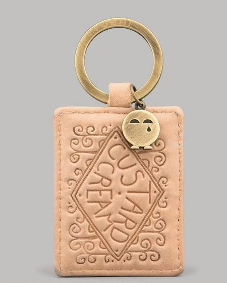 Custard Cream Biscuit Leather Keyring YKR CCR