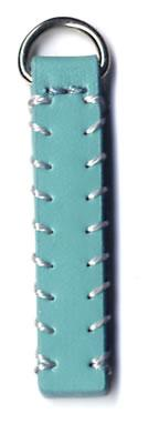 Decoratively Stitched replacement zip tag for Radley handbags Z59B sea blue with pale grey stitching