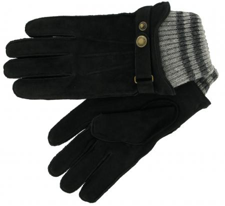 Dents Men's Black Nubuck Leather Casual Glove in black