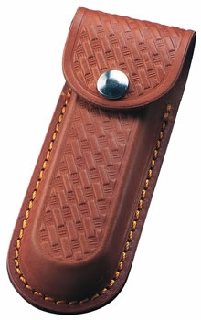 Embossed Brown 5 inch Leather Knife Pouch