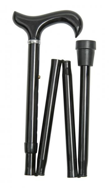 Extra Long Folding Derby Walking Stick in black